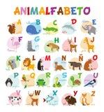 Милый зоопарк шаржа проиллюстрировал алфавит с смешными животными Испанский алфавит Стоковые Фото