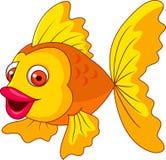 Милый золотой шарж рыб Стоковая Фотография