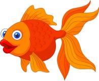 Милый золотой шарж рыб Стоковое фото RF