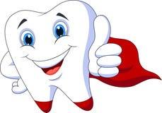 Милый зуб супергероя шаржа иллюстрация вектора
