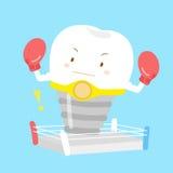 Милый зуб шаржа с боксом Стоковое Изображение