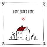 Милый дизайн карточки doodle с фразой о домашнем и малом эскизе Стоковое Фото