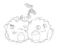Милый изверг шаржа 2 под омелой рождества Стоковые Изображения RF