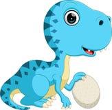 Милый динозавр держа яичко бесплатная иллюстрация