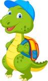 Милый динозавр с рюкзаком иллюстрация вектора