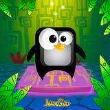 Милый и изумительный пингвин шаржа Иллюстрация вектора