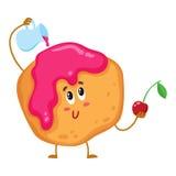 Милый и смешной свеже испеченный донут, плюшка, характер scone иллюстрация штока