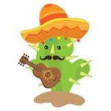 Милый кактус играет иллюстрацию вектора гитары Стоковые Изображения RF