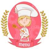 Милый кашевар шеф-повара девушки с ложкой меню Стоковые Фото