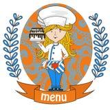 Милый кашевар шеф-повара девушки с очень вкусным тортом на подносе меню бесплатная иллюстрация
