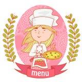Милый кашевар шеф-повара девушки с пиццей меню иллюстрация штока