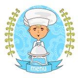 Милый кашевар шеф-повара мальчика с блюдом на подносе меню иллюстрация штока
