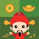 Милый китайский бог богатства Стоковые Изображения