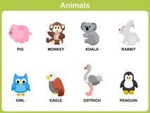 Милый комплект вектора животного для детей Стоковая Фотография RF