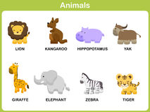 Милый комплект вектора животного для детей иллюстрация штока