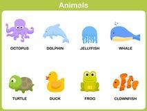 Милый комплект вектора животного для детей Стоковое Изображение RF