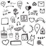 Милый комплект вектора чертежа doodle элемента концепции влюбленности на белой предпосылке Стоковое Изображение