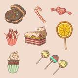 Милый комплект десерта и конфеты иллюстрация вектора