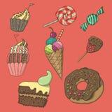 милый комплект десерта иллюстрация вектора