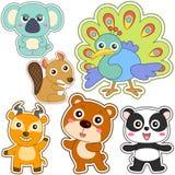 Милый комплект животного шаржа Стоковые Фотографии RF