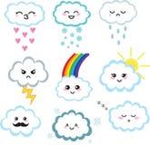 Милый комплект облака kawaii Стоковая Фотография RF