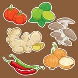 Милый комплект овоща шаржа Стоковое Изображение