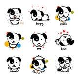 Милый комплект логотипа вектора щенка Любимое собрание логотипа любимчика Радостный и жизнерадостный человеческий друг в стиле ша иллюстрация вектора