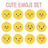 Милый комплект emoji вектор Стоковая Фотография