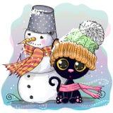 Милый котенок и снеговик бесплатная иллюстрация