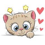Милый котенок шаржа Стоковые Фотографии RF