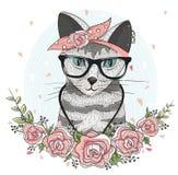 Милый кот битника с стеклами, шарфом и цветками иллюстрация штока