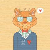 Милый кот битника Стоковые Изображения RF