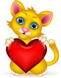 Милый кот держа влюбленность сердца иллюстрация вектора