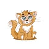 Милый кот имбиря сидя в луге бесплатная иллюстрация