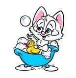 Милый кот купая ванную комнату Стоковое Изображение RF
