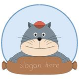 Милый кот продавая сосиску Стоковая Фотография
