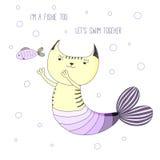 Милый кот русалки иллюстрация вектора