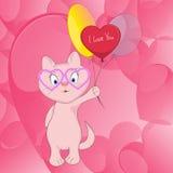 Милый кот с воздушными шарами Стоковое фото RF