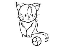 Милый кот с теннисным мячом стоковое фото rf