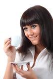 Милый кофе питья woomen голубых глазов стоковые фотографии rf