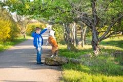 Милый красивый стильный мальчик наслаждаясь красочным парком осени с его собакой лучшего друга красной и белой английской быка De стоковые фотографии rf