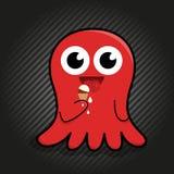 Милый красный осьминог с мороженым Стоковое Изображение RF