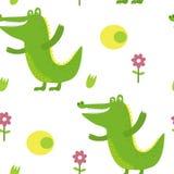 Милый крокодил в стиле шаржа Картина Стоковые Изображения