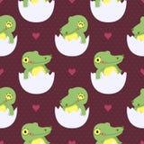 Милый крокодил младенца в картине яичек безшовной Стоковое фото RF