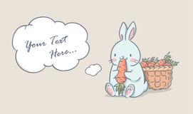 Милый кролик ест морковь бесплатная иллюстрация