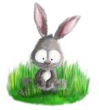 Милый кролик зайчика сидя в иллюстрации травы Стоковые Изображения