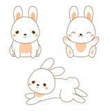 милый кролик Зайчик Kawaii Белые усаживание и скакать зайцев Характер шаржа животный для моды детей, малышей и младенцев иллюстрация штока