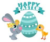 Милый кролик пасхи шаржей с цыпленком и яичком Соответствующий для дизайна пасхи Стоковое Изображение