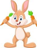 Милый маленький зайчик держа морковь иллюстрация штока