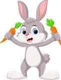 Милый маленький зайчик держа морковь иллюстрация вектора